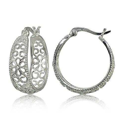 Sterling Silver High Polished Filigree Floral Round Hoop Earrings Sterling Floral Filigree Earrings