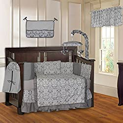 BabyFad Damask Gray Unisex 10 Piece Baby Crib Bedding Set