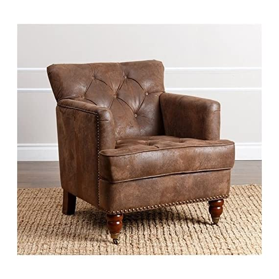Abbyson Living Misha Tufted Fabric Accent Chair in Antique Brown - Finish: Antique brown upholstery and mahogany legs Materials: wood, birch, and faux leather Button-tufted back and studded border - living-room-furniture, living-room, accent-chairs - 51xhPcmmtFL. SS570  -