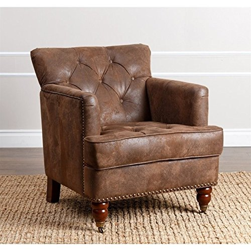 (Abbyson Living Misha Tufted Fabric Accent Chair in Antique Brown)