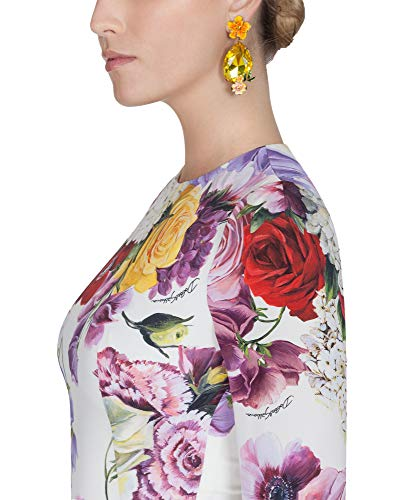 Soie Blanc E F66v7tfsax3haw86 Gabbana Femme Robe Dolce pIqXx