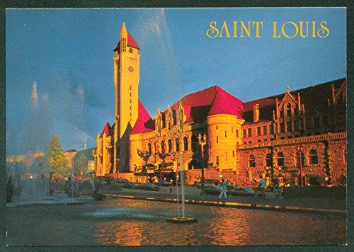(Union Station St. Louis Missouri Train Railroad Water Fountains Continental Postcard)
