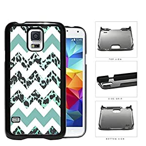 Teal White Chevron With Leopard Design Pattern Hard Plastic Snap On Cell Phone Case Samsung Galaxy S5 SM-G900