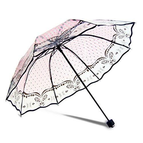 HOMEIC Umbrella Rain Women Transparent Sunny And Rainy Umbrella Parasol Thicken Three-Folding Umbrella Gift Butterfly