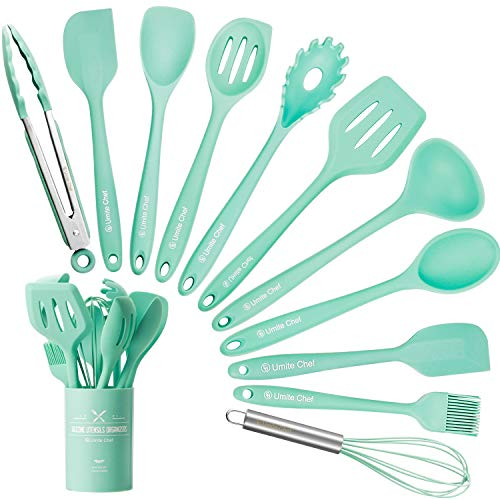 Kitchen Utensil Set – 12 Cooking Utensils Set- Colorful Silicone Kitchen Utensils – Nonstick Cookware with Spatula Set – Kitchen Tools Kitchen Gadgets with Utensil Crock by Umite Chef(Green-12 PCS)