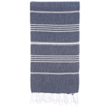 CACALA Pure Series Turkish Bath Towels – Traditional Peshtemal Design for Bathrooms, Beach, Sauna – 100% Natural Cotton, Ultra-Soft, Fast-Drying, Absorbent – Warm, Rich Colors with Stripes Dark Blue