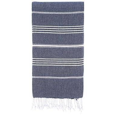 Cacala 100% Cotton Pestemal Turkish Bath Towel, 37 x 70 , Dark Blue