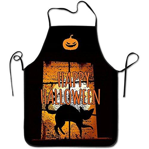starmiami Kitchen Apron For Women Retro Apron Dress Men Cooking Apron Pinafore Halloween Night He Came Home Black Cat (Halloween 1 He Came Home)