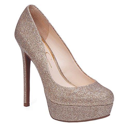 Jessica Simpson Women's Sandrah Dress Pump (8.5 B(M) US, Gold) (Jessica Platforms Leather)