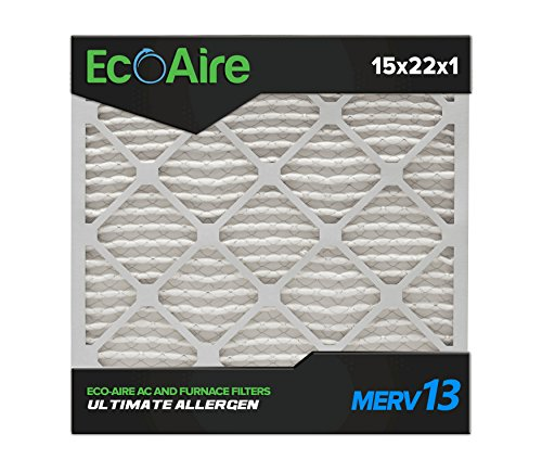 Eco-Aire 15 x 22 x 1 Premium MERV 13 Pleated Air Conditioner Filter, 6 Pack