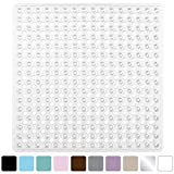 Gorilla Grip Original Bath, Shower, and Tub Mat (21x21), Machine Washable, Antibacterial, BPA, Latex, Phthalate Free, Square Bathroom Mats with Drain Holes, Suction Cups (Clear)