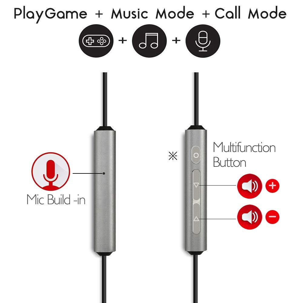 Type C Headphone SUMWE Hi-Fi Digital Stereo Earbuds in-Ear USB C Headphones w Mic for Google Pixel 4 3 2 XL, Samsung Note 10 , Huawei, OnePlus, Nokia, Razer, Moto Z, HTC, Essential – Grey