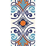 Pack of 192 Blue and Orange Moroccan Tile Themed 3-Ply Vintage Party Napkins 8""