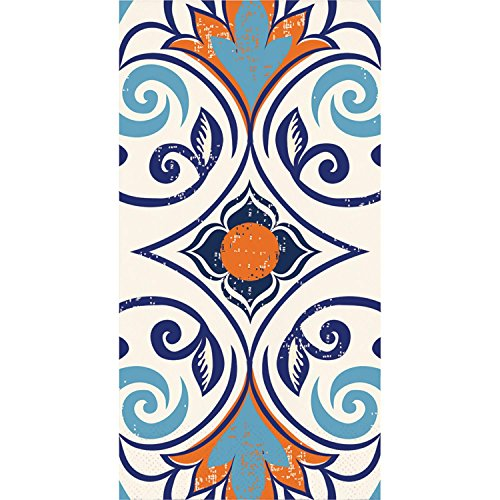 """Pack of 192 Blue and Orange Moroccan Tile Themed 3-Ply Vintage Party Napkins 8"""" by Party Central (Image #1)"""