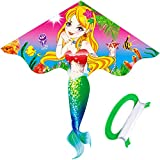 Toys : HENGDA KITE- Kites For Kids Children Lovely Cartoon Mermaid Kites With Flying Line