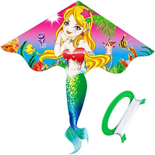 HENGDA KITE- Kites For Kids Children Lovely Cartoon Mermaid Kites With Flying Line for $<!--$9.90-->