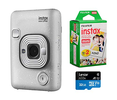 Fujifilm Instax Mini Liplay Hybrid Instant Camera (Stone White), Bundle Instax Mini Instant Daylight Film, Twin Pack (20 Exposures), 32GB MicroSD Card