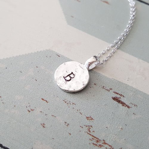 Personalized Sterling Silver Hammered Disc Circle Letter