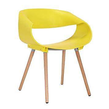 ZHDCR Moderne Minimaliste Chaise Creative Negocier Tables Et Chaises Plastique Bois Massif Dossier Accoudoir
