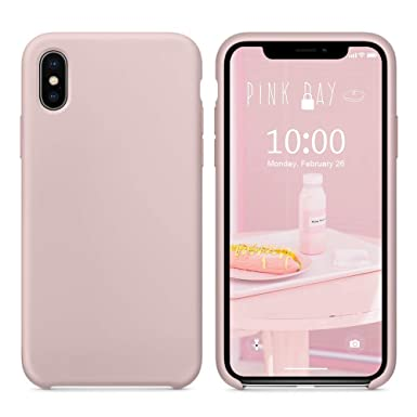 new arrival acb19 0d580 SURPHY iPhone Xs Silicone Case, iPhone X Silicone Case, Anti-Scratch 5.8  inch Phone Case for Apple iPhone XS, Pink Sand