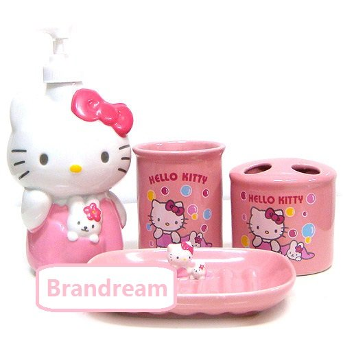 Hello Kitty Kitchen Accessories: Brandream 4 Piece Pink Hello Kitty Bathroom Set Kids