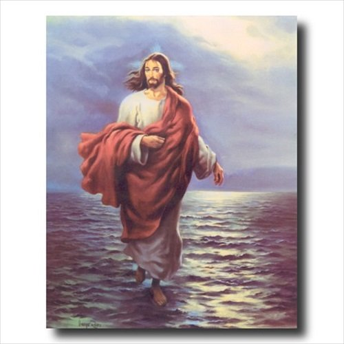Jesus Christ Walking On Water Religious Wall Picture Art Print
