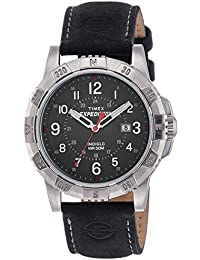 Men's T49988 Expedition Rugged Metal Black/Silver-Tone Leather Strap Watch