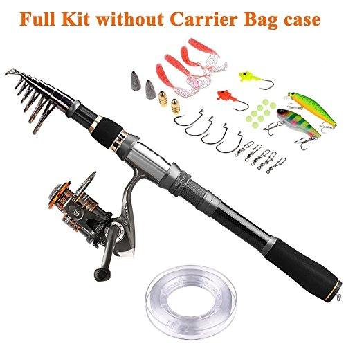 PLUSINNO Fishing Rod Reel Combos Carbon Fiber Telescopic Fishing Pole with Spinning Reel Line Lures Accessories Combo Sea Saltwater Freshwater Fishing Rod Kit ()