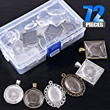 Glarks 72-Pieces Round & Oval & Square Pendant Trays with Glass Cabochon Dome Tiles Clear Cameo for Crafting DIY Jewelry Making