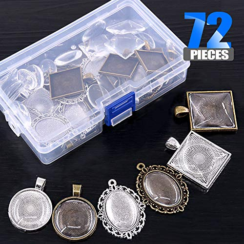 Glarks 72-Pieces Round & Oval & Square Pendant Trays with Glass Cabochon Dome Tiles Clear Cameo for Crafting DIY Jewelry Making by Glarks