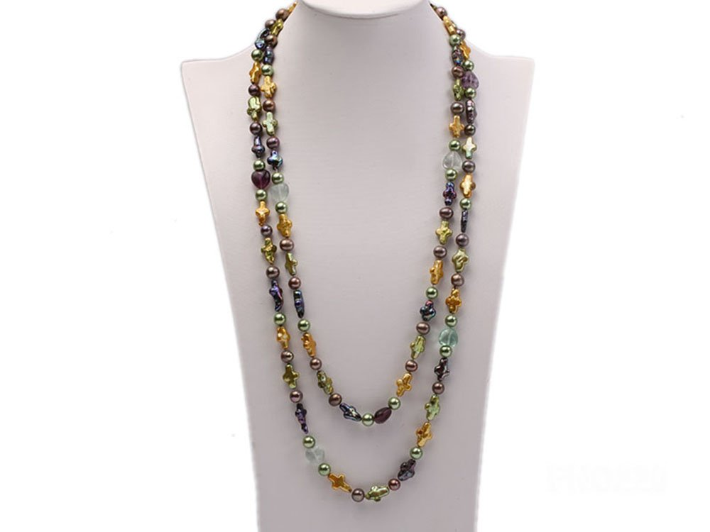 JYX 10-15mm Multicolor Cross Freshwater Pearl with Crystal Opera Necklace