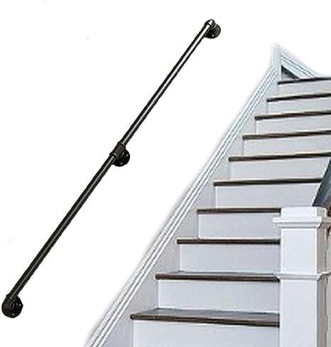 Baranda escalera para soporte paredes | Kit barandas cubierta para interior y exterior | Conjuntos soporte riel barandilla barandilla escalera | Diseño tubería agua industrial hierro forjado metal: Amazon.es: Deportes y aire libre