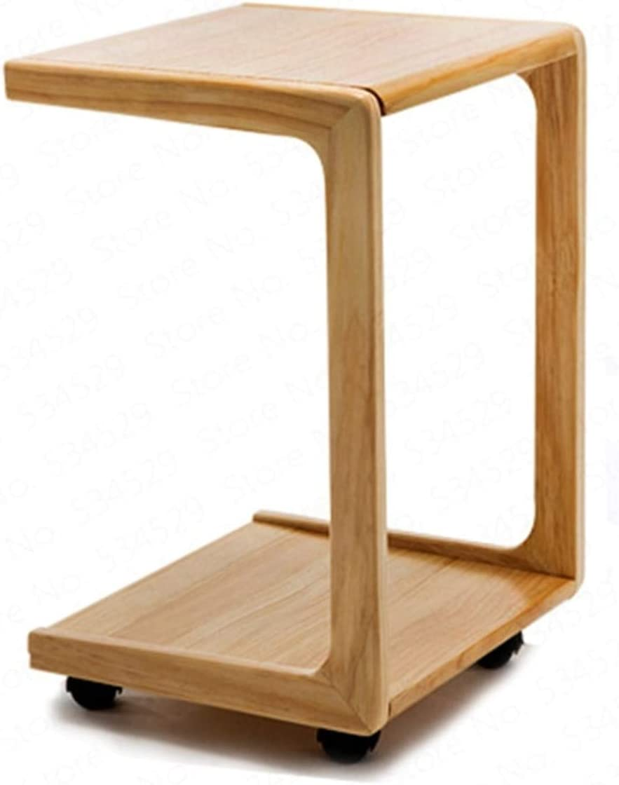 Sofa Side Table End Table - C Shaped Bamboo Couch Snack and Coffee Table - Accent Tables for Living Room or Bedroom