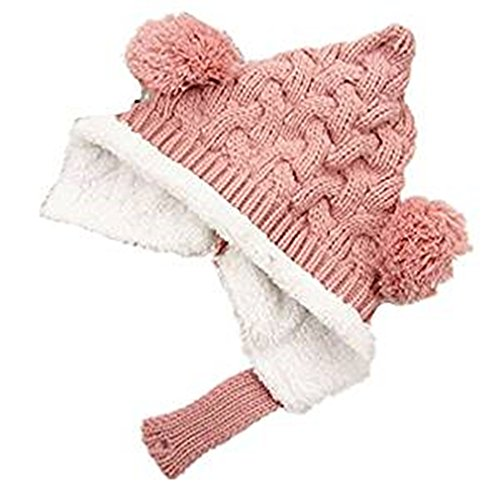 VISKEY Baby Toddler Winter Warm Knitted Fleece Hat Crochet Hat, Pink