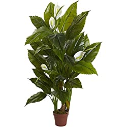 Nearly Natural Spathyfillum Real Touch Plant, 4.5'