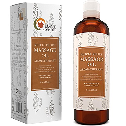 Muscle Pain Massage Oil - Muscle and Joint Pain Relief - Anti Cellulite Massage Oil for Men and Women - Aromatherapy Essential Oils for Healing - Deep Tissue Massage Lotion - Natural Anti Aging Oil