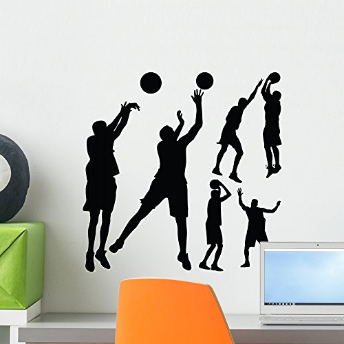 Players Individual (Wallmonkeys Basketball Player Wall Decal Sticker Set Individual Peel and Stick Graphics on a (18 in H x 18 in W) Sticker Sheet WM366236)