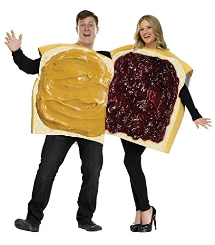 (Set of 2) Peanut Butter And Jelly Couples Costumes: Bread-Shaped Tunics (Costume Duos)