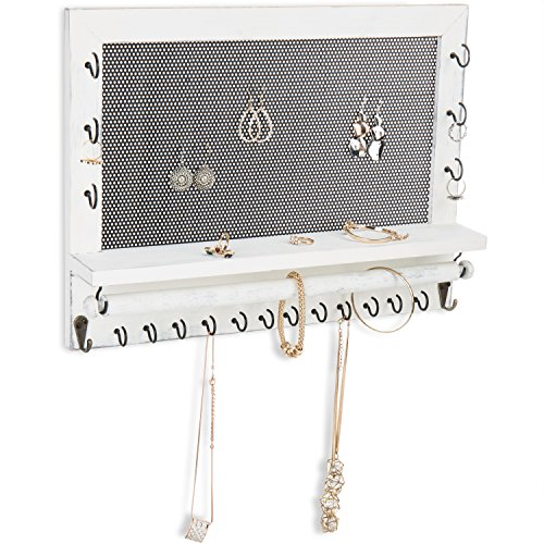 MyGift Vintage Whitewashed Wood Wall-Mounted Jewelry Organizer with Necklace Hooks, Bracelet Bar, Earring Panel from MyGift