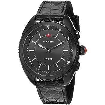 MICHELE Womens Hybrid Smartwatch- Black IP Black Dial Black Alligator And Silicone Hybrid Smartwatch MWWT32A00009