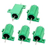 Uxcell a14041000ux1443 5 Piece Green 40 Ohm 25W Aluminum Chassis Mounted Wirewound Resistor