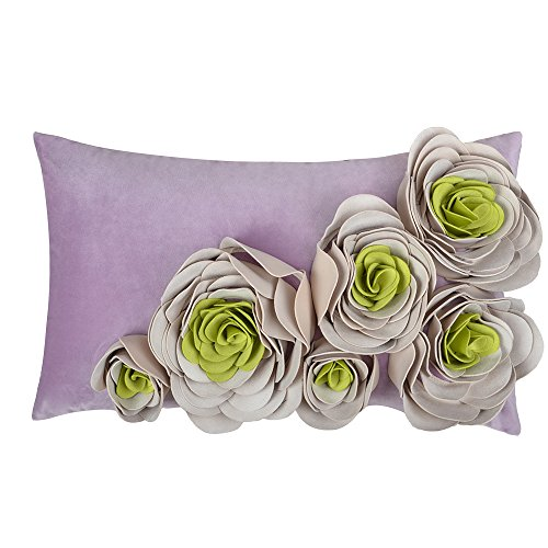 JWH 3D Handmade Accent Pillow Cases Rose Flowers Cushion Covers Super Soft Velvet Decorative Pillowcases Home Sofa Car Bed Room Office Chair Decor Pillowslips Gifts 12 x 20 Inch Purple Green (Green And Throw Pillows Purple)