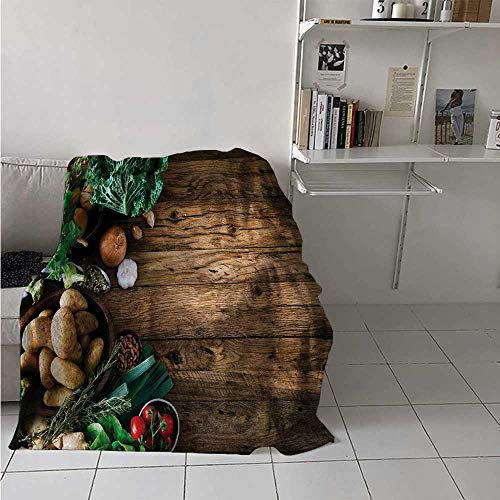 maisi Harvest Digital Printing Blanket Vegetables on Wooden Table Healthy Options Organic Food Herbs and Spices Seasonal Summer Quilt Comforter 62x60 Inch Brown Green