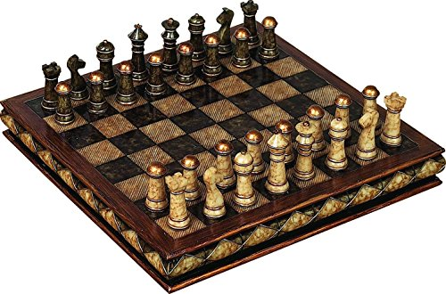 Deco-79-Poly-Stone-Chess-Set-10-by-3-Inch