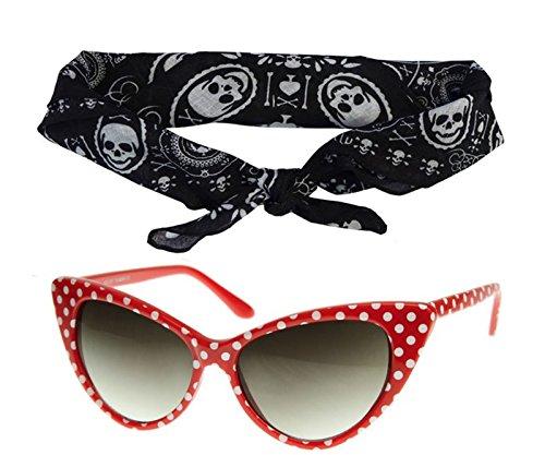 50s Polka Dot Cat Eye Red Sunglasses Black Bandana Tie Headband Set -