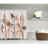 """Dandelions Thistles Flower Leaf Seeds Bouquet Monarch Butterfly Wheat Field Wild Nature Art Decor Floral Curtains Print Polyester Fabric Orange and Brown Shower Curtain Bath Curtain Extra Long 75"""" L"""