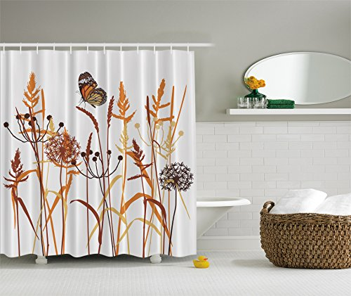 """Dandelions Thistles Flower Leaf Seeds Bouquet Monarch Butterfly Wheat Field Wild Nature Art Decor Floral Curtains Print Polyester Fabric Shower Curtain Bath Curtain Extra Long 75"""" L, Orange Brown"""