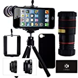 iPhone 5 Camera Lens Kit including 8x Telephoto Lens / Fisheye Lens / Macro Lens / Wide Angle Lens / Mini Tripod / Universal Phone Holder / Hard Case for iPhone 5 / Velvet Phone Bag / CamKix® Microfiber Cleaning Cloth (Black)