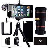CamKix Camera Lens Kit for iPhone 5 / 5S including 8x Telephoto Lens / Fisheye Lens / Macro Lens / Wide Angle Lens / Tripod / Phone Holder / Hard Case / Velvet Bag / Microfiber Cleaning Cloth