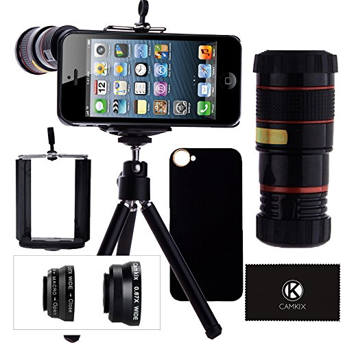 Camera Lens Kit for iPhone SE / 5S / 5 including 8x Telephoto Lens / Fisheye, Macro, Wide Angle Lens / Tripod / Phone Holder / Hard Case / Bag / Cleaning Cloth